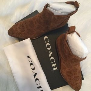 Coach Bowery Suede booties with Floral cut out